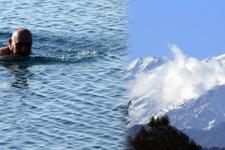 Antalya'da kar manzaralı deniz keyfi