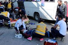 Bolu'da işçileri taşıyan servis devrildi 20 yaralı
