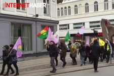 Danimarka'da bebek arabaları ile HDP'ye destek eylemi