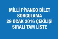 Milli Piyango çekiliş sonuçları bilet sorgulama 29 Ocak 2016