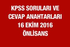 16 Ekim 2016 KPSS soru ve cevapları önlisans ÖSYM'de