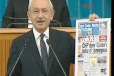 Kılıçdaroğlu kürsüden Akit'in 2013 manşetini gösterdi
