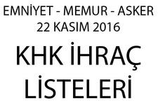 İhraç ve göreve iade listesi 22.11.2016 emniyet ve memurlar