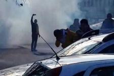 Taraftar yumurta attı polis biber gazı sıktı