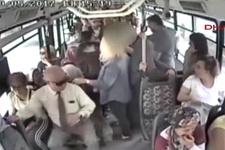 Otobüste bebekli kadına cinsel organını gösteren sapık güvenlik kamerasında