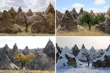 Kapadokya'da 4 mevsim ayrı ayrı böyle görüntülendi