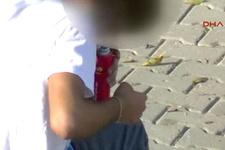 Çocuk parkında çakmak gazı çekip, kendinden geçti