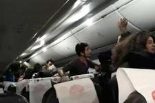 Pistten çıkan uçağın içinde büyük panik