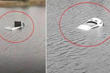 Kamyonetin göle batma anı saniye saniye kaydedildi!