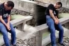 Uyuyan adam bir anda nehre düştü