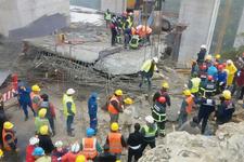 Viyadük çalışmasında beton blok işçilerin üzerine düştü