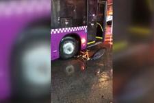 Otobüs şoförünün, tartıştığı kişinin bisikletini aracıyla ezdiği iddiası