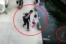 Suya düşen çocuğu kurye böyle kurtardı
