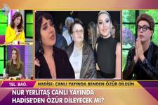 Nur Yerlitaş canlı yayında Hadise'den af diledi!