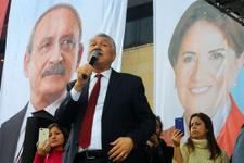 CHP'li belediye başkanı adayından Akşener fotoğrafı önünde miting