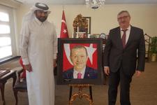Katarlı sanatçıdan Erdoğan'a Kubbetu's Sahra tablosu