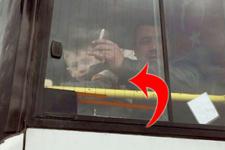 Halk otobüsünde skandal görüntü!