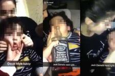 Olay görüntüler! Küçük çocuğa viski içirmeye çalıştılar