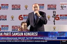 Erdoğan küçük kızı sahneye çağırdı ve ...