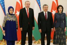 Cumhurbaşkanı Erdoğan Özbekistan'da böyle karşılandı...