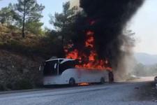 Muğla'da korkutan otobüs yangını! Alevler ormana sıçradı