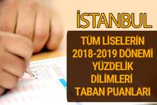 İstanbul Lise taban puanları 2018 -2019 nitelikli okullar LGS yüzdelik dilimleri