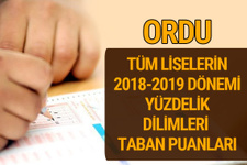 Ordu Lise taban puanları 2018 -2019 nitelikli okullar LGS yüzdelik dilimleri