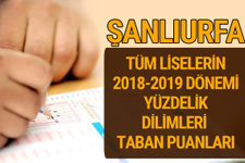 Şanlıurfa Lise taban puanları 2018 -2019 nitelikli okullar LGS yüzdelik dilimleri