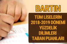 Bartın Lise taban puanları 2018 -2019 nitelikli okullar LGS yüzdelik dilimleri