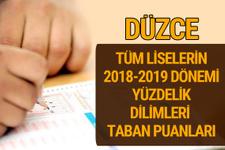 Düzce Lise taban puanları 2018 -2019 nitelikli okullar LGS yüzdelik dilimleri