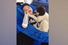 Engelli çocuk ile yavru köpeğin iç ısıtan görüntüsü