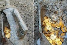 Tarihi kazıda yüzlerce altın para çıktı