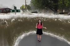 Korkunç! Florence Kasırgası'nı canlı yayında böyle canlandırdılar