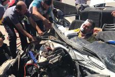 Tüyleri diken diken eden kaza! Aracın tavanı uçtu