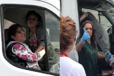 Hastane önünde kamyonetin içinde doğum yaptı! İşte o anlar...