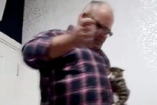 İşadamı kediyi sopayla dövdü dehşet anları kamerada
