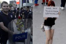 Gezi Parkı'ndan gaz yerine çiçek