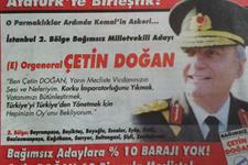 Doğan'dan askeri üniformalı seçim ilanı