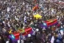 3 kadının tabutu PKK bayrağına sarıldı