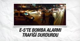 E-5'te bomba alarmı trafik çift yönlü durdu!