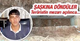 Silvan'da teröristin mezarını açanlar şaşkına döndü