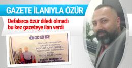 Gazete ilanıyla Çavuşoğlu'ndan özür diledi