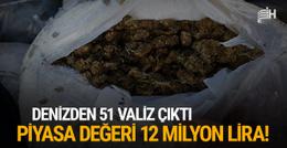 Denizden 51 valiz çıktı: Değeri 12 milyon lira!