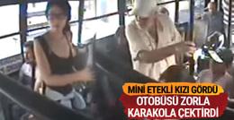 Mini etekli kızı görüp otobüsü karakola çektirdi