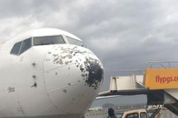 Havadaki uçağın burnu ve kanatları delik deşik oldu