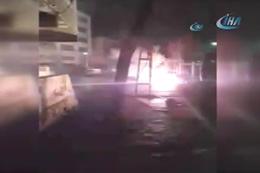 Trafodaki patlama anları geceyi aydınlattı