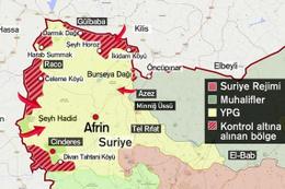 Afrin haritasına bakın! Afrin'e ne kadar kaldı nereler alındı?