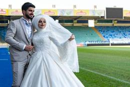 Fanatik taraftar, düğün fotoğrafı için bakın nereyi seçti