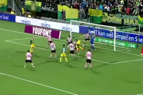 Hollanda Ligi maçında inanılmaz karambol
