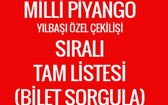 Milli Piyango yılbaşı tam listesi - MPİ bilet sorgulama